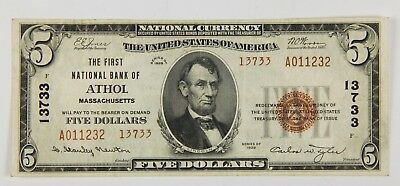 1929 $5 First National Bank Of Athol Ma Massachusetts Note