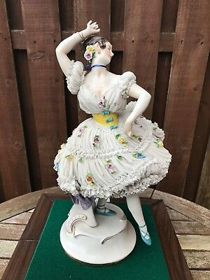 Rare Large Volkstedt German Figure Of Dresden Lace Ballerina Lady - Superb Cond.