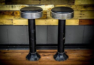 Vintage 1940's Ice cream Parlor diner bar Stools PAIR Cast base High Quality