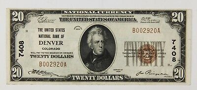 1929 $20 United States National Bank Of Denver Co Colorado Note