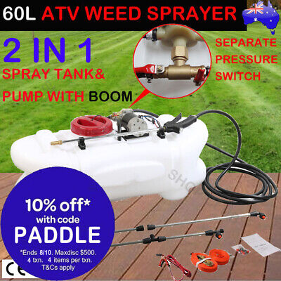 60L ATV Garden Weed Sprayer 12V Pump Tank Chemical Spray Boom Spot Wand NEW