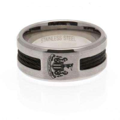 Official Football Newcastle United F.C. Black Inlay Ring Large Xmas Gift