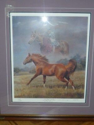 Fred Stone Lithograph. Secretariat, Ron Turcotte Up. Signed by Artist and Jockey