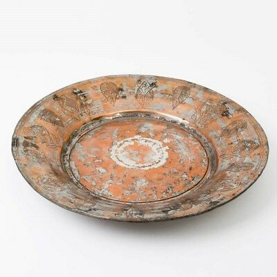 """Antique 18th c. Armenian Copper Engraved Dish Plate Charger 14"""" Repair Ottoman"""