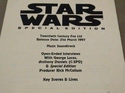 Star Wars Special Edition - Audio Press Kit (Reel To Reel Tape with Cue Sheet)