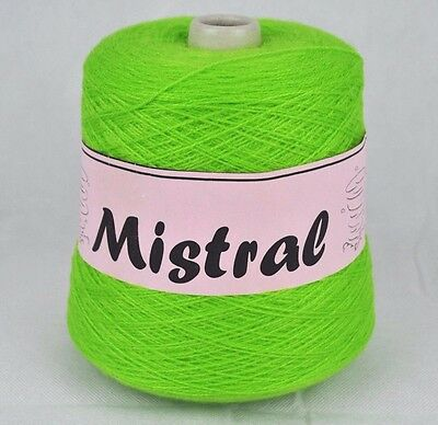 Mistral Shamal Forsell 3 Ply Knitting Machine Cone Yarn Wool ~ 400g Lime Green