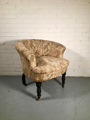 Antique Victorian Tub Cocktail Armchair Chair Wooden tapestry Fabric office sun