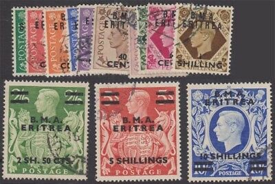 ERITREA KGVI 1948-49 Occupation Set Scott 1-13 SGE1-12 Used cv £70