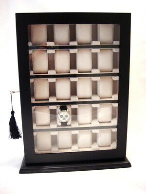 For 20 Large Wrist Watches Watch Cabinet Black Wood Display Storage Case Box