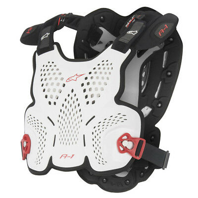 ALPINESTARS MX A-1 Chest Protector Roost Guard Body Armor MD/LG Wht/Blk/Red