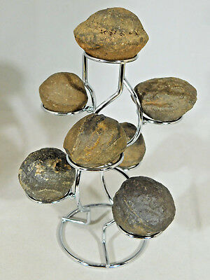 SEVEN! 100%Natural Moqui Marbles or Shaman Stones on a Sphere Stand Utah 933gr e