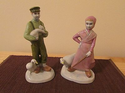 Ceramic Dutch Holland Boy and GIrl with Ducks Figurine Set