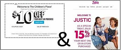 (1X) Children's Place & (1X) Justice C0Upon(S)** Dlvrd Within 1 Hour**
