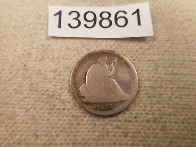 1837 Seated Liberty Dime Collector Album Grade Coin - # 139861 No Stars Cleaned