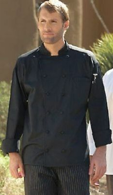 Uncommon Threads Soho Chef Coat 10 Knot Buttons Long Sleeve, BLACK XS-5XL, 0435