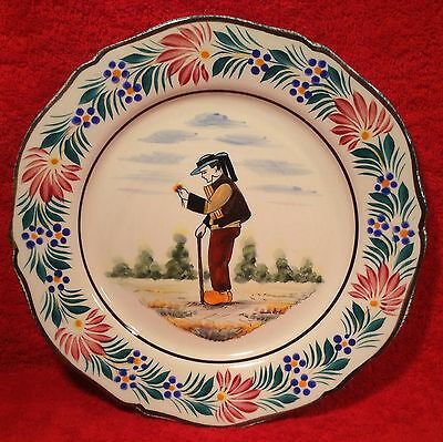 Vintage HB Quimper Hand Painted French Faience Plate, ff284  GIFT QUALITY!!