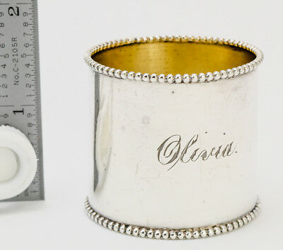 "ANTIQUE WIDE BEADED WALLACE STERLING NAPKIN RING ""OLIVIA"" c1890"