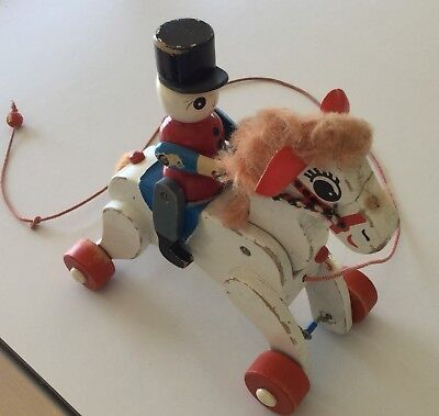 Vintage Wooden Toy - Click-Clack Soldier On Horse