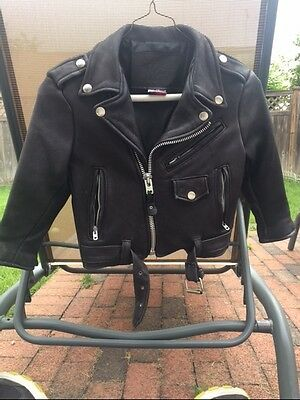 Vintage Branded Garment Inc Youth Leather Biker Jacket Usa Made Size 4 Free Ship