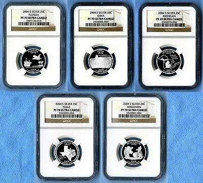 2004 S Silver State Quarters Set NGC PF70 Ultra Cameo