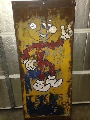 "Vintage 1940-50s Rare Reddy Kilowatt large 56"" heavy metal sign Texas Power"