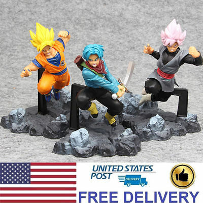 Dragon Ball Z Super Saiyan Goku Trunks 3 PCS Character Action Figure Statue Toys
