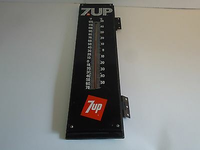 Vintage Black 7Up Soda Thermometer-Large-Bubble Letter-Advertising-Rare-Original