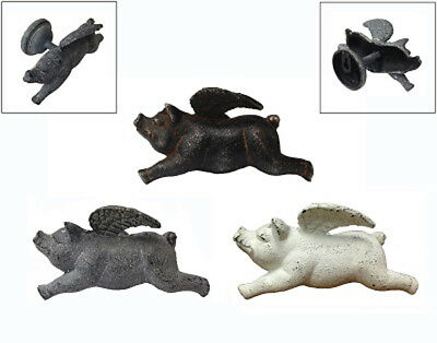 Country Cottage Farmhouse Cast Iron Flying Pigs Wall Sculpture Decor Set of 3