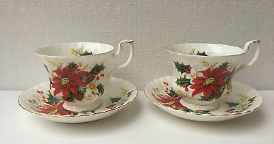 Set of 2 Royal Albert 'POINSETTIA' Tea Cup & Saucer - Bone China (121)