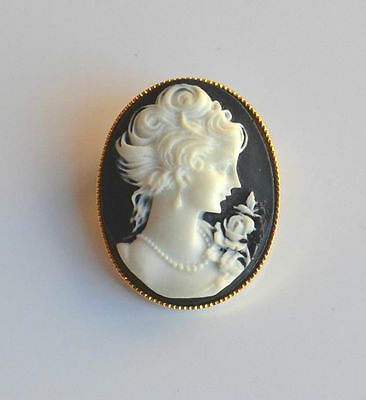 vintage molded plastic oval cameo brooch pin black white portrait gold frame