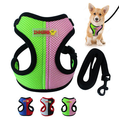 Soft Air Mesh Dog Harness and Leash set Small Medium Dog Stitching Walking Vest