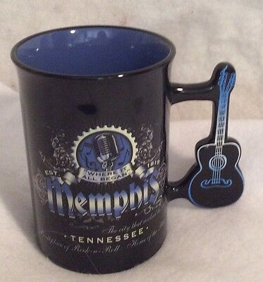 MEMPHIS Guitar Handle Blue Spattered Coffee Mug Will Become Your Favorite GoTo