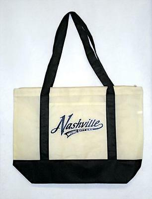 Nashville Black And Natural Large Tote With Nashville Black And White Script Ll.