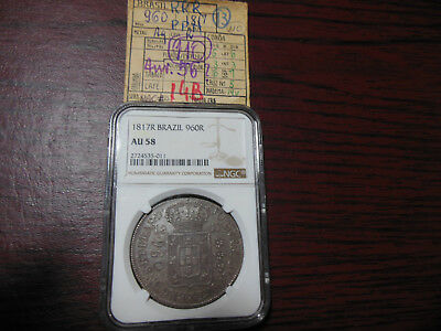 Brazil 1817 R 960 Reis NGC AU58 Over 8 Reales Silver Graded Coin Kurt Prober