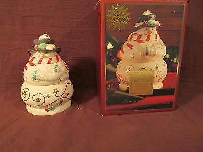 2003 Lenox Occasions  Stacking Snowman Candy Box Dish  Holiday Decoration