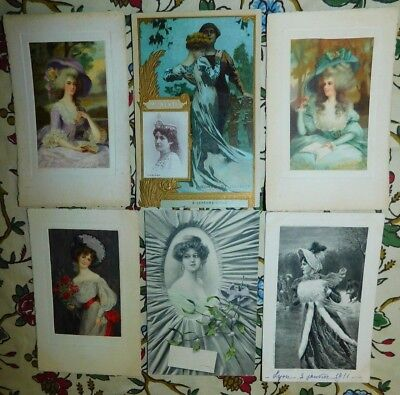 Estate 6 x 1900s French Illustrated Ladies Romeo Juliette Greeting Postcards