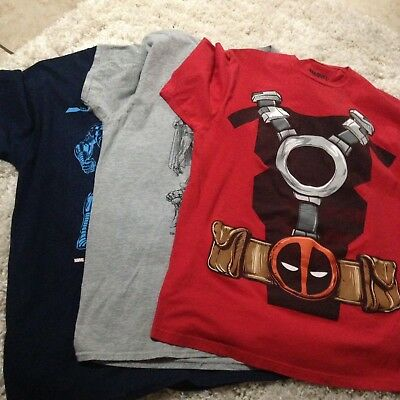 Men's Marvel Shirt Size Large Deadpool Iron Man Villains Lot Of 3