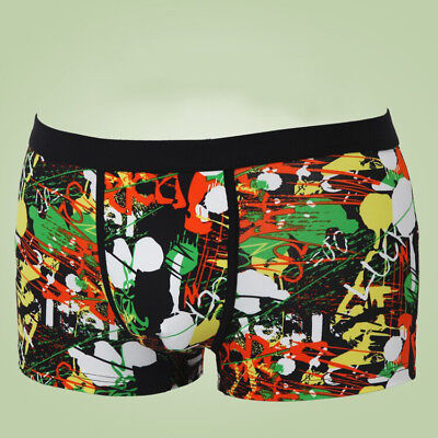 Men Milk Silk Printed Boxer Briefs Shorts Graffiti Boxers Pants Underwear XL-3XL