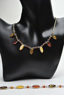 Sterling Silver Matching Amber Necklace and Bracelet Set