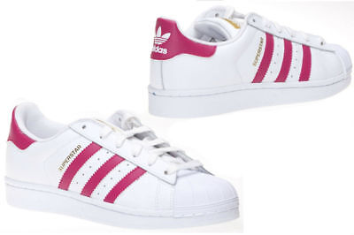 Adidas Superstar Girls Kid Tennis Shoes Sneakers Scarlet Pink Stripes Size 13 K