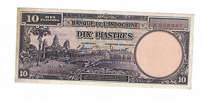 French Indochina 10 Piastres 1947 Pick# 80 ( #896)