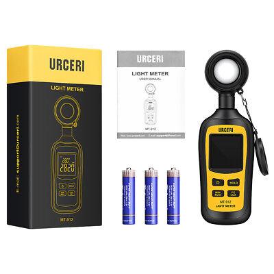 URCERI Handheld Digital Light Meter Ambient Temperature Measurer Color Screen US