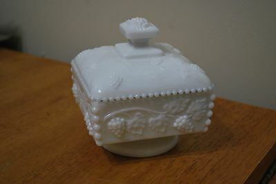 McKee White Milk Glass Grape Pattern - Covered Compote - 5 1/4 inch tall