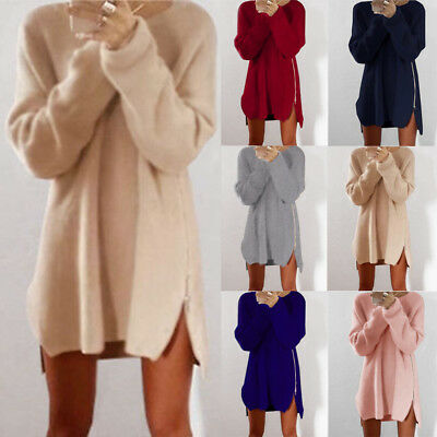 Womens Winter Long Jumper Tops Blouse Ladies Knitted Sweater  Tunic Mini Dresses