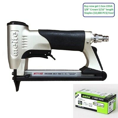 "meite MT7116S 22GA 3/8"" Crown Air Upholstery Stapler with Safety air Staple Gun"