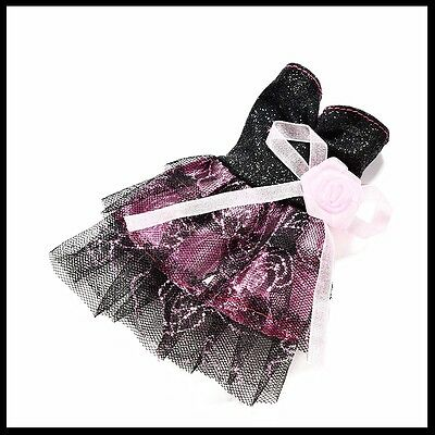 Barbie Doll Clothes-Black & Pink Strapless Party Dress with Pink Flower at waist