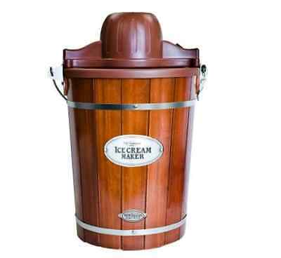 Electric Ice Cream Maker Nostalgia Electrics Vintage Wood Barrel  6 Qt.