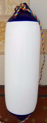 Great Condition Polyform US Blue & White F-3 Fender Buoy w/ Rope 22cm x 76cm