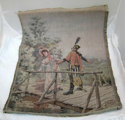 "Vintage Woven French Tapestry Military Man & Woman On Bridge 17 x 12"" T17"