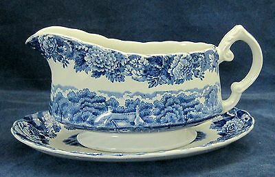 Enoch Wood's English Scenery Swirl Woods Ware Made in England Gravy & Liner SHP